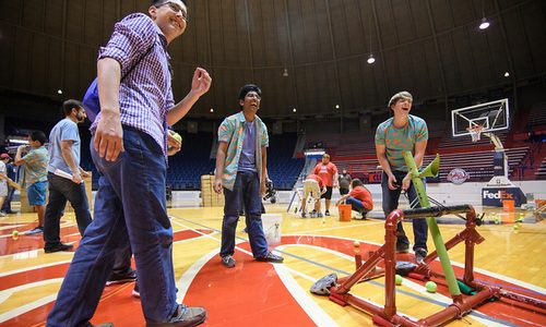 High school students from across Mississippi compete in the 2017 Catapult Competition. Photo by Thomas Graning/Ole Miss Communications