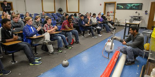 DeSoto Central High School students attend a  CMSE STEM Exposure Excursion physics demonstration. Photo by Thomas Graning/Ole Miss Communications